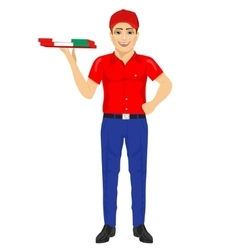 pizza delivery man holding cardboard vector image
