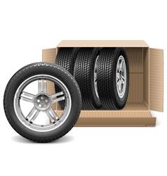 Car Wheels in Carton Box vector image vector image