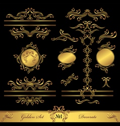 Golden Set Calligraphic and Decorate elements vector image vector image