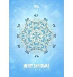 Modern Christmas fancy winter snowflake card vector image vector image