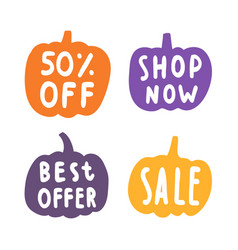 set of sale badges pumpkins silhouette vector image vector image