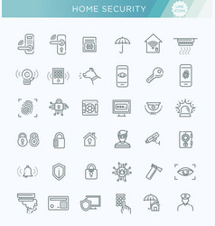 simple set of home security related line vector image vector image