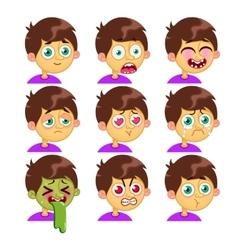 Boy emotion faces vector