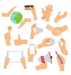 flat design of hand icons set concept of hand in vector image vector image