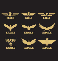 gold heraldic eagles logo collection on black vector image vector image