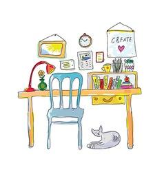 Home workplace for designer sketch - interior hand vector image