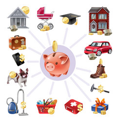 money box saving flat icons composition vector image vector image