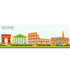 Rome Skyline with Color Buildings vector image