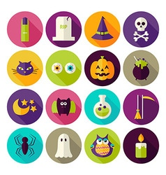 Flat Magic Halloween Witch Circle Icons Set with vector image vector image