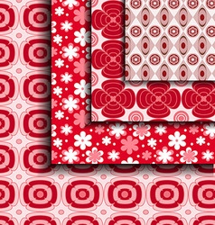 floral pattern red vector image vector image