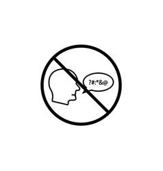 no swearing line icon prohibition sign forbidden vector image vector image