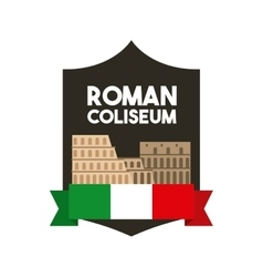 Roman coliseum icon italy culture design vector