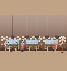 romantic date in restaurant flat vector image vector image