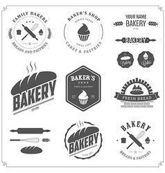 Set of vintage bakery labels and design elements vector image