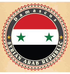Vintage label cards of Syria flag vector image vector image