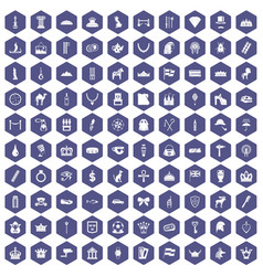 100 crown icons hexagon purple vector