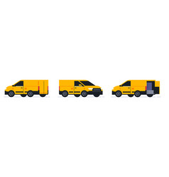 A set of vans for an online parcel delivery vector