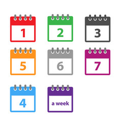 a week calendar icon in modern flat style vector image