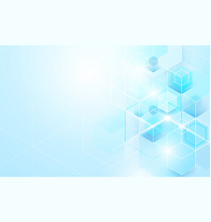 Abstract blue geometric and hexagons shiny vector
