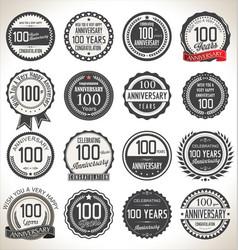 Anniversary retro badges 100 years vector