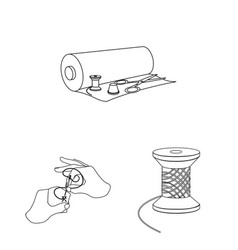 Atelier and equipment outline icons in set vector