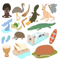 Australia icons set cartoon style vector