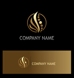 Beauty abstract wave cosmetic gold logo vector