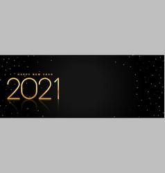 Black and golden happy 2021 new year banner design vector