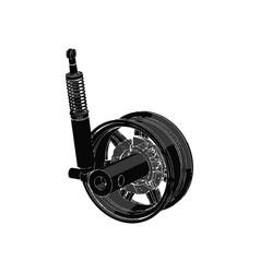 black wheel on white background vector image