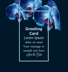 blue orchids watercolor card invitation vector image
