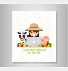 Book sell concept with women farmer and laptop vector