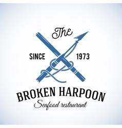 Broken harpoon seafood restaurant abstract vector