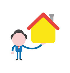 businessman character holding house vector image