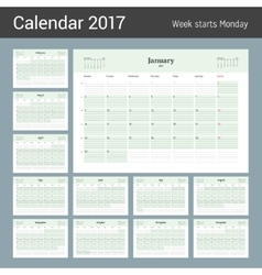 Calendar Template for 2017 Year Business Planner vector image