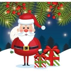 card funny santa gift and pine night vector image