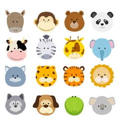 cartoon animals faces vector image