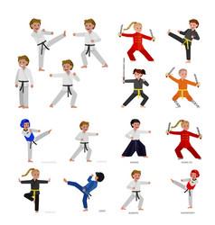 cartoon kid wearing kimono martial art kimono vector image