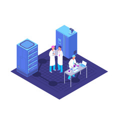 Chemistry pharmaceutical lab isometric concept vector