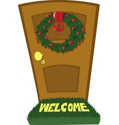 Christmas door vector