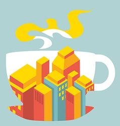 City buildings inside the cup of coffee vector