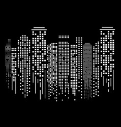 cityscape silhouette at night in flat design vector image