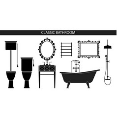 Classic old style furniture for the bathroom vector