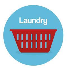 Clothes plastic basket laundry service vector