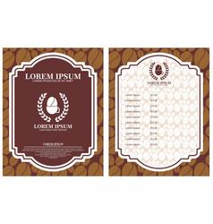 coffee menu design brochure template coffee shop vector image