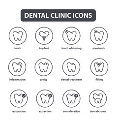 collection of dental clinic line style vector image