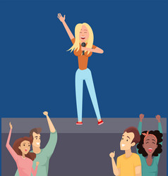 Concert girl singing on stage dancing fans vector