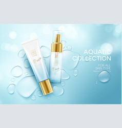 Cosmetics on a background with water drops vector