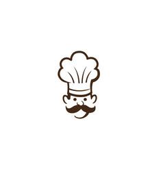 creative abstract chef head moustache logo vector image