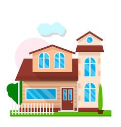 cute modern house exterior vector image