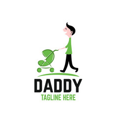 dad with stroller logo vector image